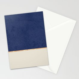Navy Blue Gold Greige Nude Stationery Cards