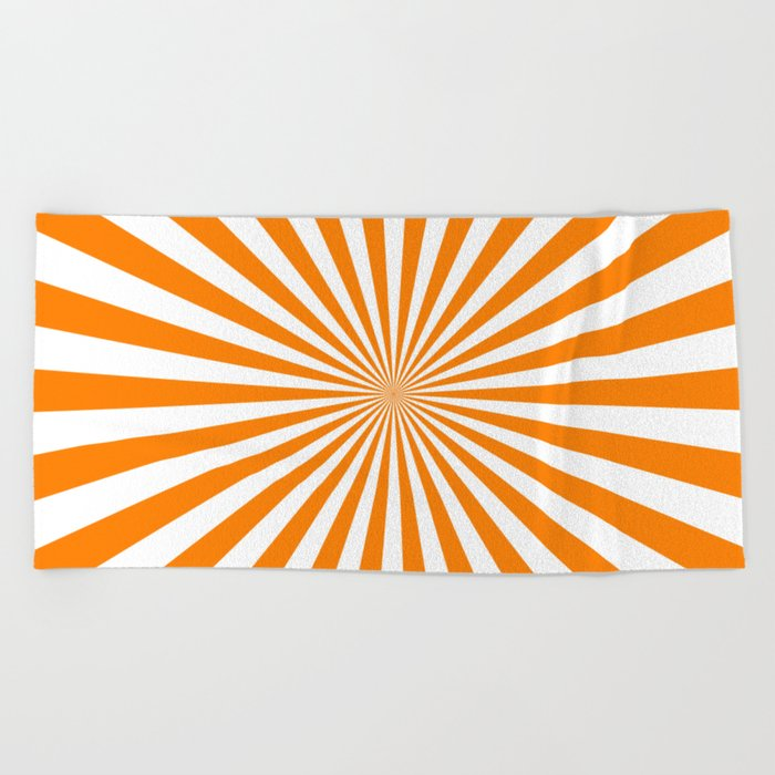 Starburst (Orange/White) Beach Towel
