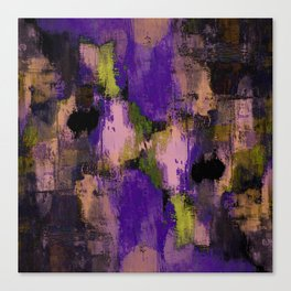 Abstract Nature - Textured, blue, yellow, pink, lilac, purple, black and orange painting Canvas Print