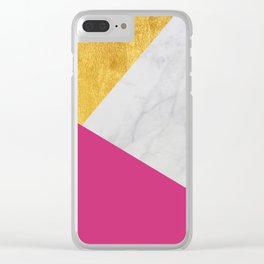 Carrara marble with gold and Pantone Pink Yarrow color Clear iPhone Case