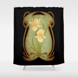 Art Nouveau Flowers Shower Curtain