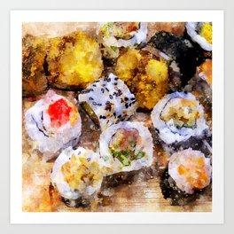 Sushi board - watercolor Art Print