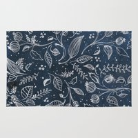 metallic Area & Throw Rugs featuring Metallic Floral by Yaz Raja Designs