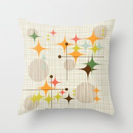 Mid Century Modern Starbursts and Globes 3a Throw Pillow