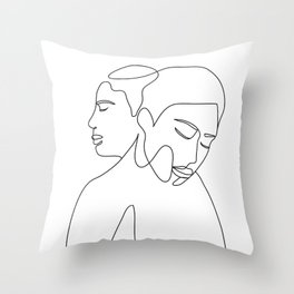 Line Faces 02 Throw Pillow
