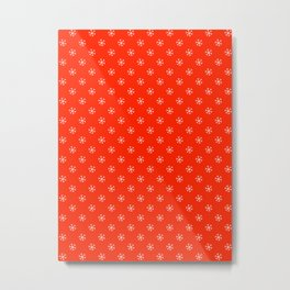 White on Scarlet Red Snowflakes Metal Print