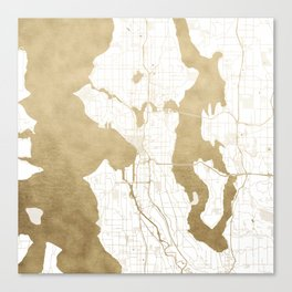 Seattle White and Gold Map Canvas Print