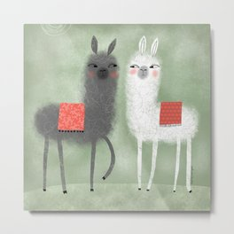 LLAMAS WITH RED BLANKETS Metal Print