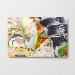 Fresh colorful sushi pieces Metal Print