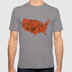 Bike America MEDIUM Mens Fitted Tee Tri-Grey