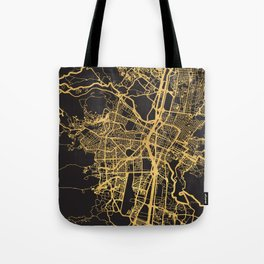 MEDELLIN COLOMBIA GOLD ON BLACK CITY MAP Tote Bag