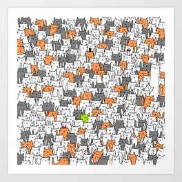 Bunny among cats Art Print