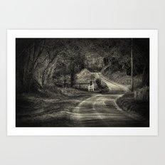 On The Road Again, BW Art Print