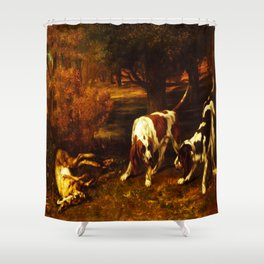 HUNTING DOGS WITH DEAD HARE, by Gustave Courbet, 1857 Shower Curtain