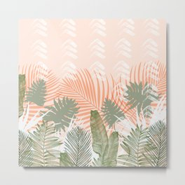 Abstract tropical plants pastel Metal Print