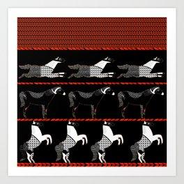 Horses and Lines Art Print