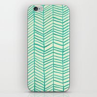 herringbone iPhone & iPod Skins featuring Mint Herringbone by Cat Coquillette
