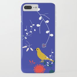 Bird and blossom electric blue iPhone Case