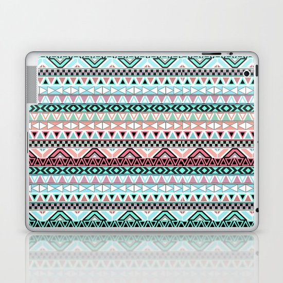 Pastel me | Andes Teal Pink Cute  Abstract Aztec Pattern Laptop & iPad Skin