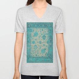 blue antique carpet Unisex V-Neck