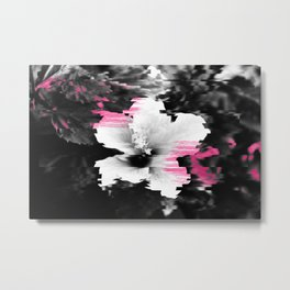 Floral glitch | modern black white flower photography pink watercolor brushstroke glitch effect Metal Print