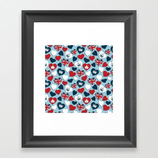 UK Hearts Framed Art Print