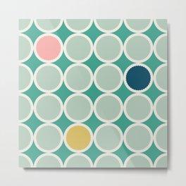 Scalloped Circles in Seafoam Metal Print