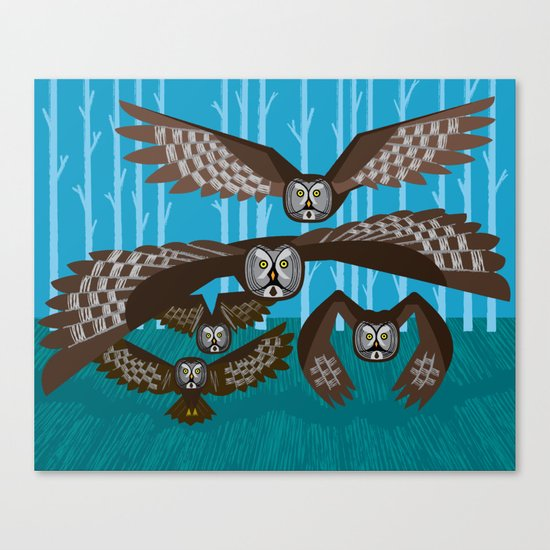 Five Owls In Flight Canvas Print