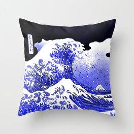 BLUE & WHITE HOKUSAI WAWE REBOOT Throw Pillow