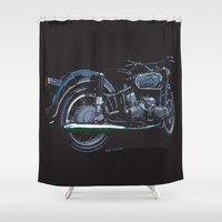 bmw Shower Curtains featuring BMW R50 MOTORCYCLE | DARK by Ernie Young