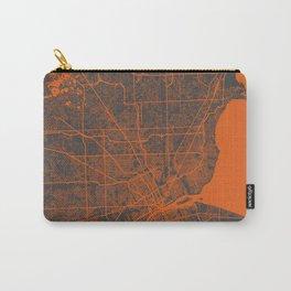 Detroit map orange Carry-All Pouch