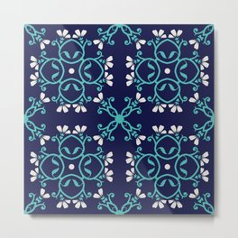 Decorative Floral Pattern 27 - Bunting and Fountain Blue, Cararra Metal Print