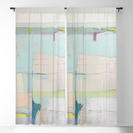 """""""over flow"""" abstract painting in robin's egg, mint, blush, white, and yellow Blackout Curtain"""