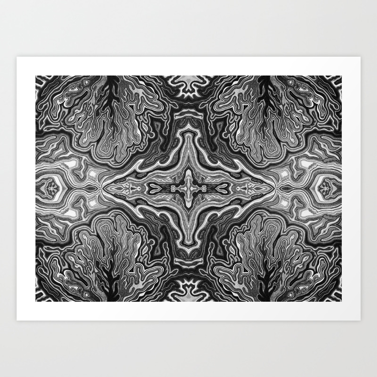 Abstract 4 v high contrast black white art print