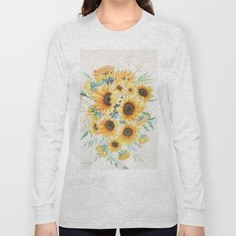 Loose Watercolor Sunflowers Long Sleeve T-shirt