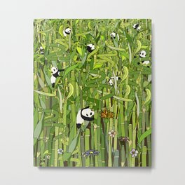 Traveling Pandas in Bamboo Forest Metal Print