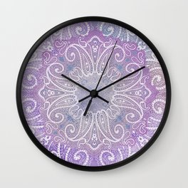 paisley wheel play in light purple Wall Clock