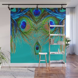 TURQUOISE BLUE-GREEN PEACOCK FEATHERS ART Wall Mural