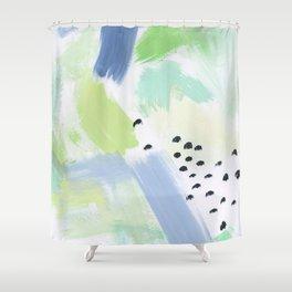 Happy Storm Blue Fern Shower Curtain