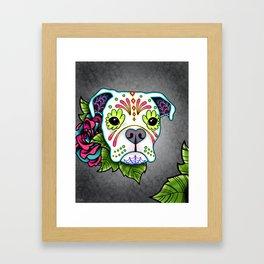Boxer in White- Day of the Dead Sugar Skull Dog Framed Art Print