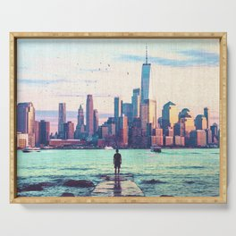 New York City Skyline and Birds Serving Tray