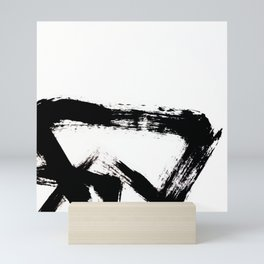 Brushstroke [8] - a simple, abstract, black and white india ink piece Mini Art Print
