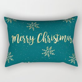 Merry Christmas Teal Gold Rectangular Pillow