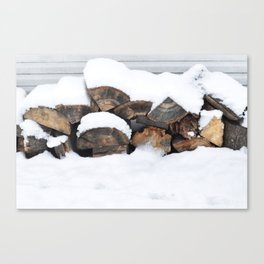 Snow Covered Wood Pile Canvas Print