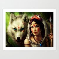 "princess mononoke Art Prints featuring ""Princess Mononoke"" by PeeGeeArts"