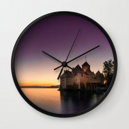 Sunset At Chillon Wall Clock