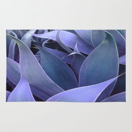 Abstract Leaves Periwinkle Teal Rug