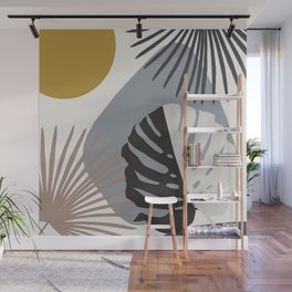 Minimal Yin Yang Monstera Fan Palm Finesse #2 #tropical #decor #art #society6 Wall Mural