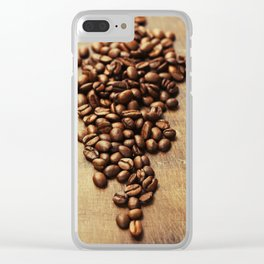 Coffee beans on wooden background Clear iPhone Case