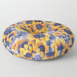 Sunflowers Blue Floor Pillow